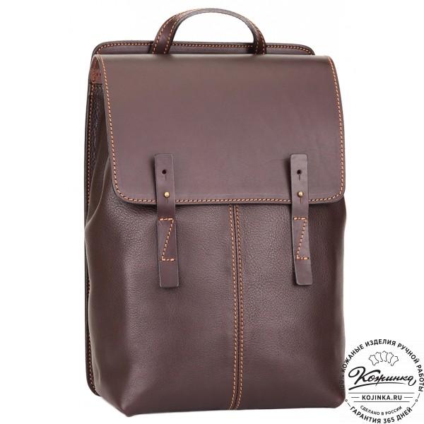 """Кожаный рюкзак """"Эдвард"""" (темно-коричневый). фото 1"""