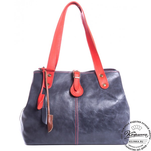 """Женская кожаная сумка """"Энни"""" (синяя). фото 1"""