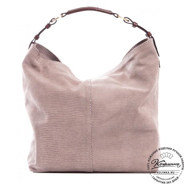 """Женская кожаная сумка """"Торба"""" (серая). фото 1"""