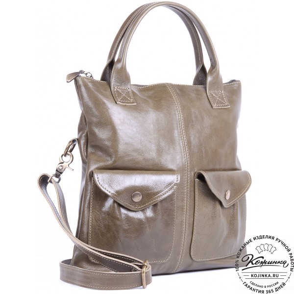 """Женская кожаная сумка """"Амели"""" (оливковая). фото 1"""