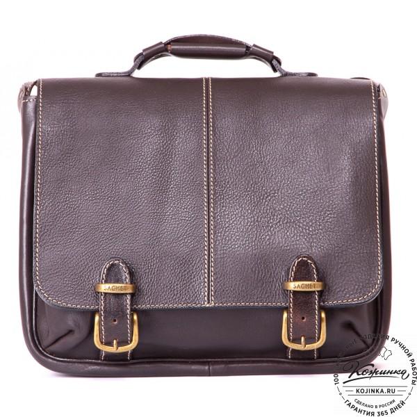 """Кожаный портфель """"Сорбонна"""" (темно-коричневый). фото 1"""