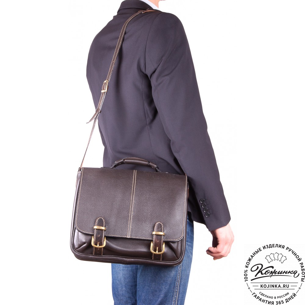 """Кожаный портфель """"Сорбонна"""" (темно-коричневый)"""