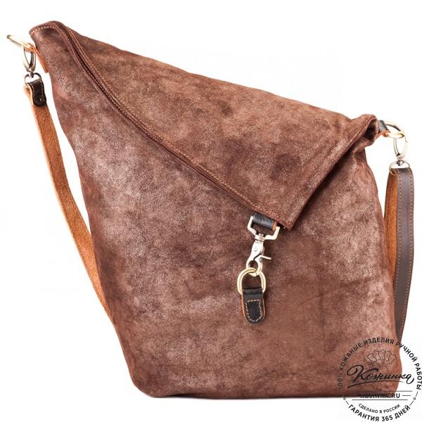 """Кожаная сумка """"Верона"""" (коричневая с блеском). фото 1"""