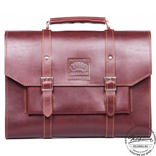 """Кожаный портфель """"Гордон"""" (коричневый). фото 1"""
