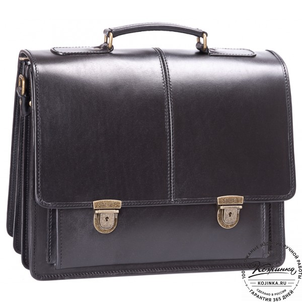 """Кожаный деловой портфель """"Адвокат-2"""" (черный). фото 1"""