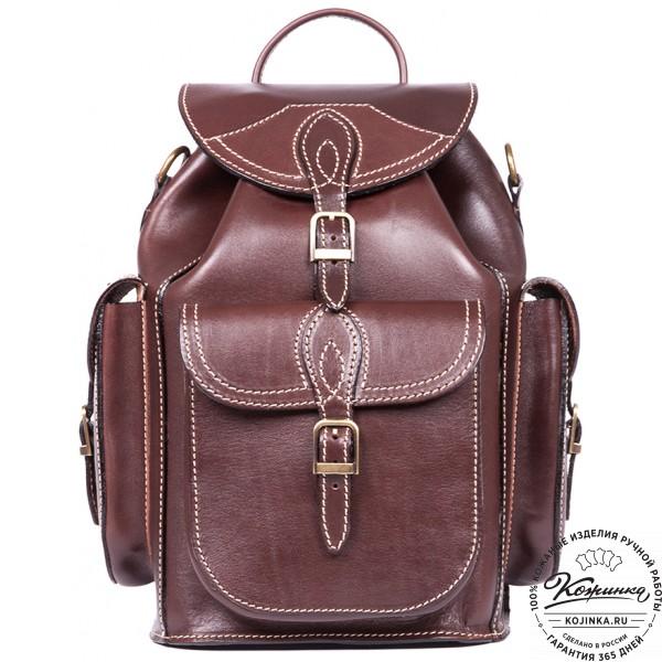 """Кожаный рюкзак """"Кросс"""" (коричневый). фото 1"""
