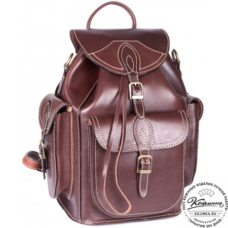 """Кожаный рюкзак """"Кросс"""" (коричневый)"""