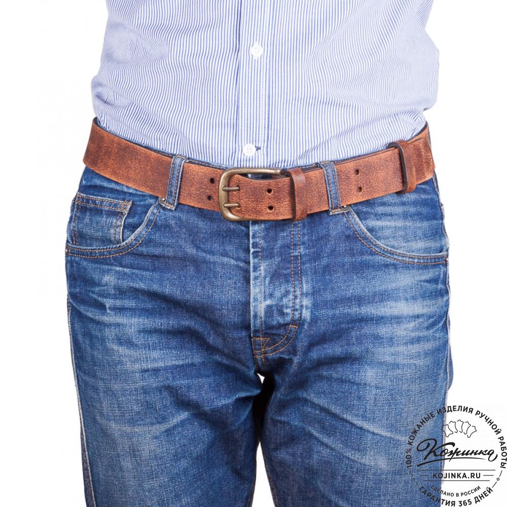 Кожаный мужской ремень Адам (коричневый)