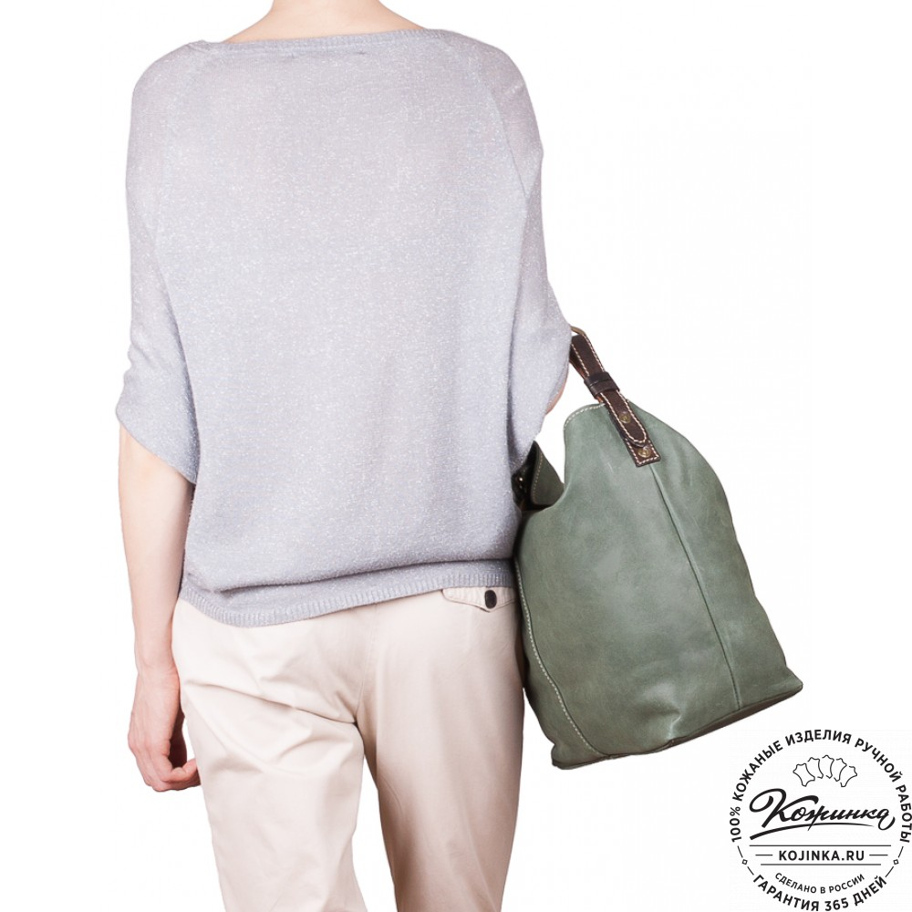 """Женская кожаная сумка """"Торба"""" (зеленая)"""