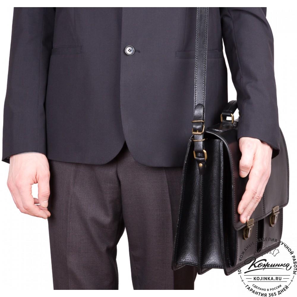 """Кожаный деловой портфель """"Адвокат-1"""" (черный)"""