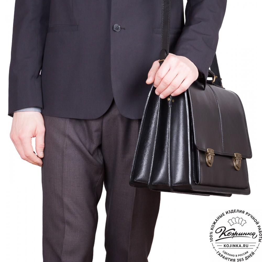 """Кожаный деловой портфель """"Адвокат-2"""" (черный)"""