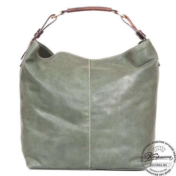 """Женская кожаная сумка """"Торба"""" (зеленая). фото 1"""
