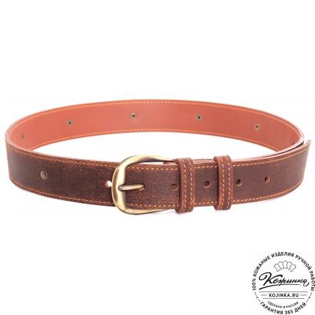 Кожаный мужской ремень Анри (коричневый)