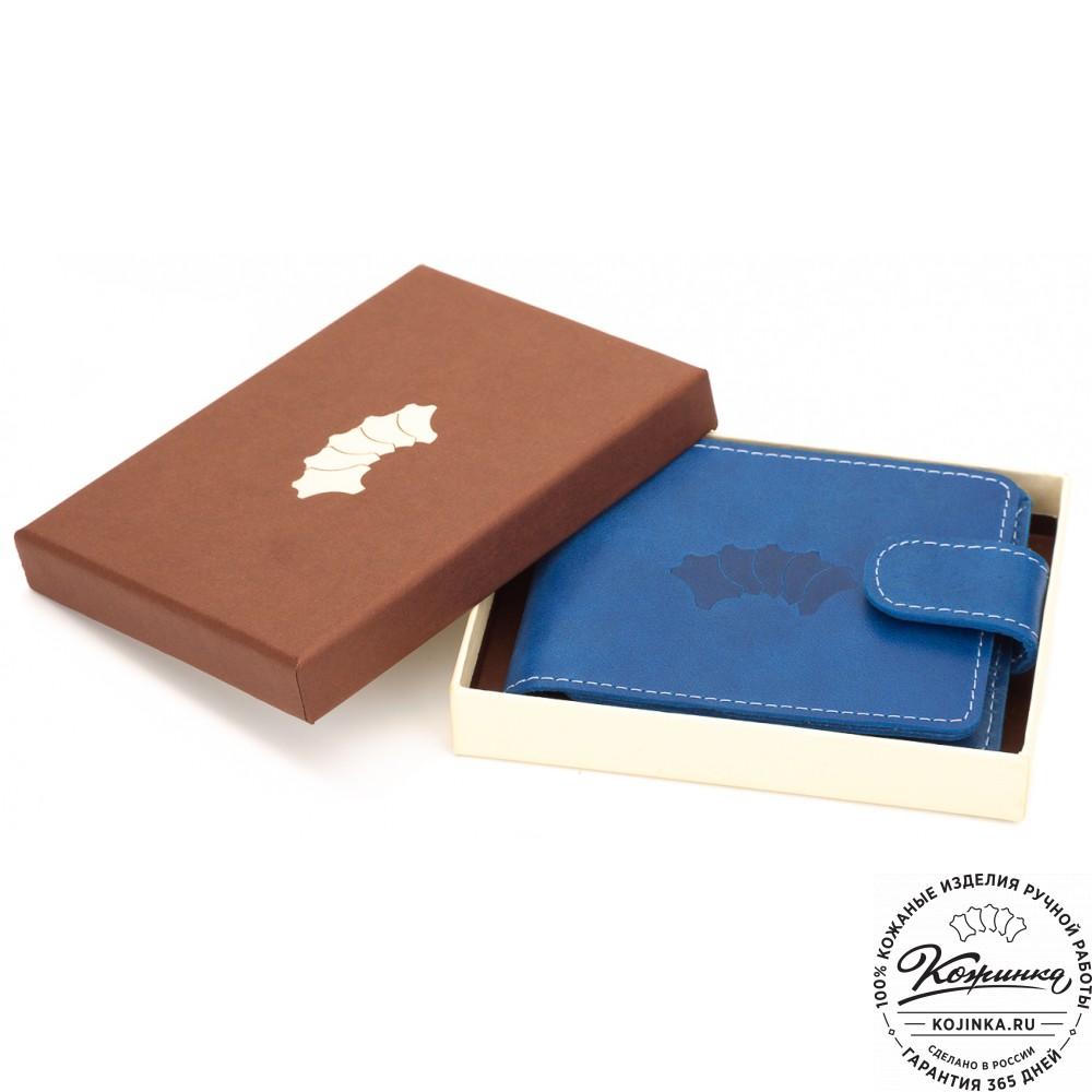 b6937fa58026 Кожаное портмоне Италия (синее) - купить в Москве и Санкт-Петербурге