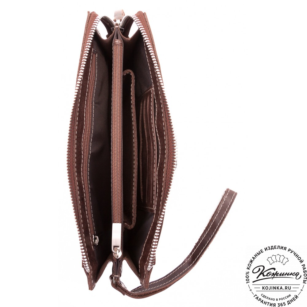 Кожаный клатч  Москва (коричневый)