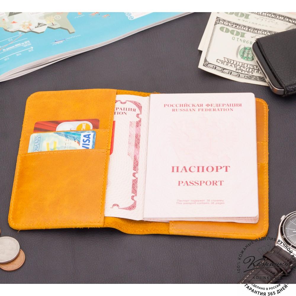 Кожаная обложка на паспорт Прага (желтая)