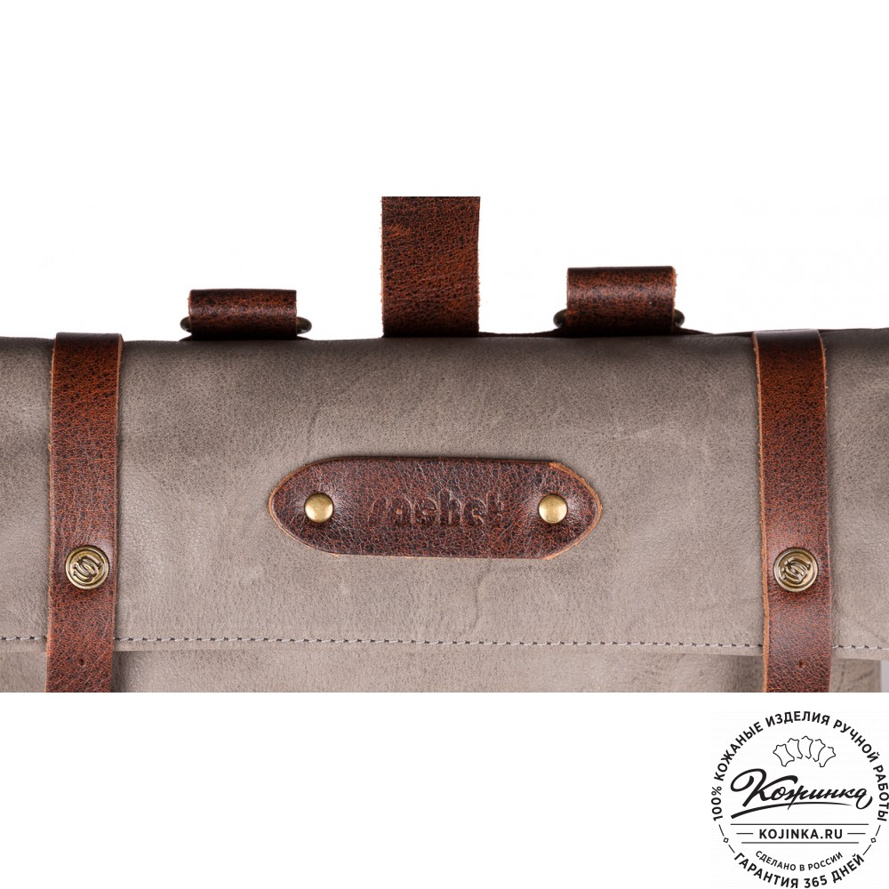 """Кожаный рюкзак """"Vogue"""" (серый с коричневым)"""