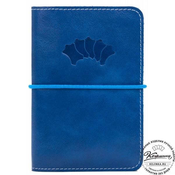 Кожаная обложка на паспорт Прага (синяя). фото 1