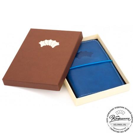 Кожаная обложка на паспорт Прага (синяя)
