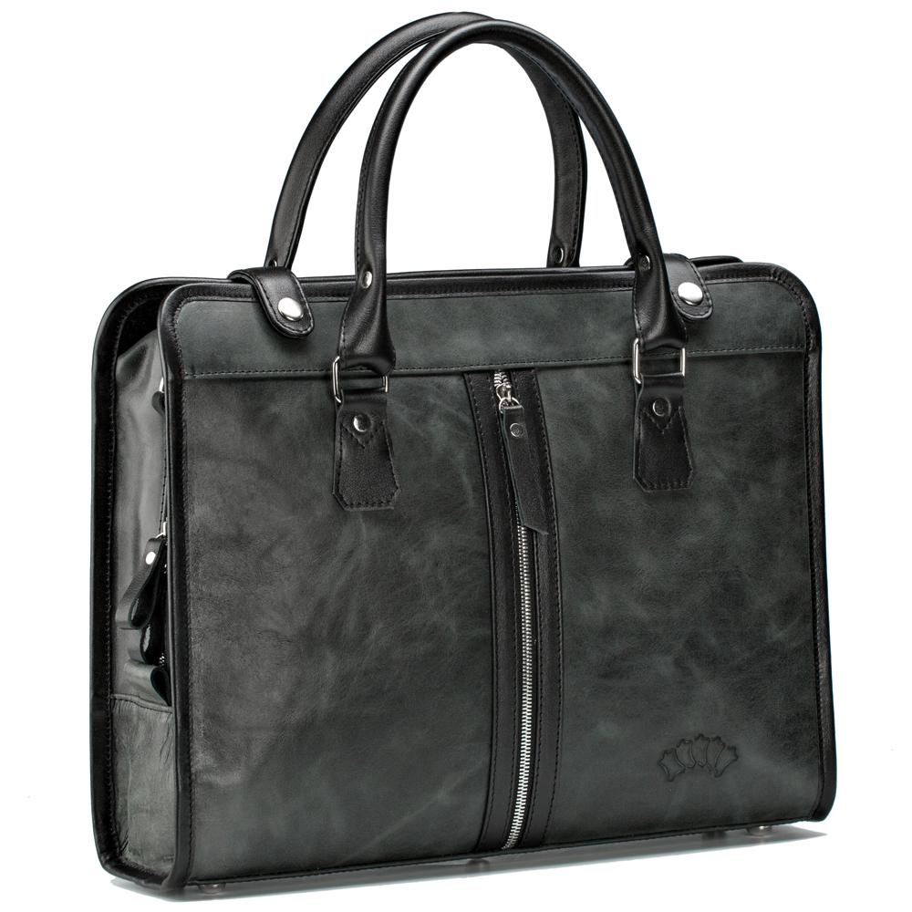 """Фото #1: Кожаная деловая сумка """"Юстин"""" (чёрный антик)"""