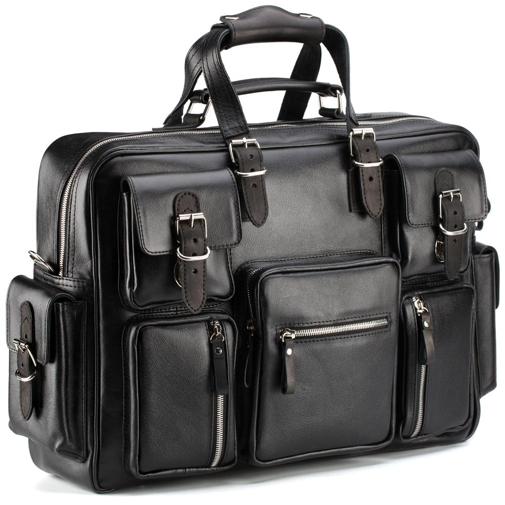 """Купить со скидкой Кожаная деловая сумка для командировок """"Ричард"""" (чёрная)"""