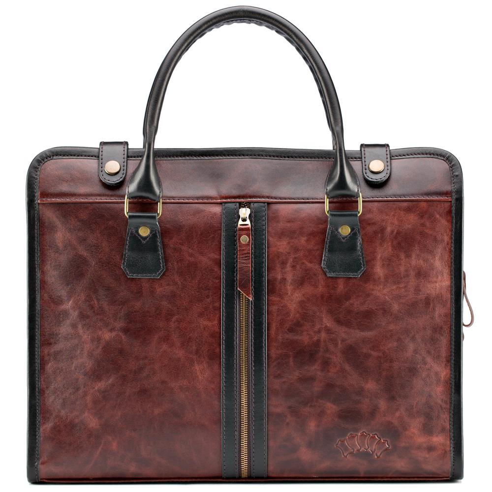 """Купить со скидкой Кожаная деловая сумка """"Юстин"""" (коричневый антик)"""