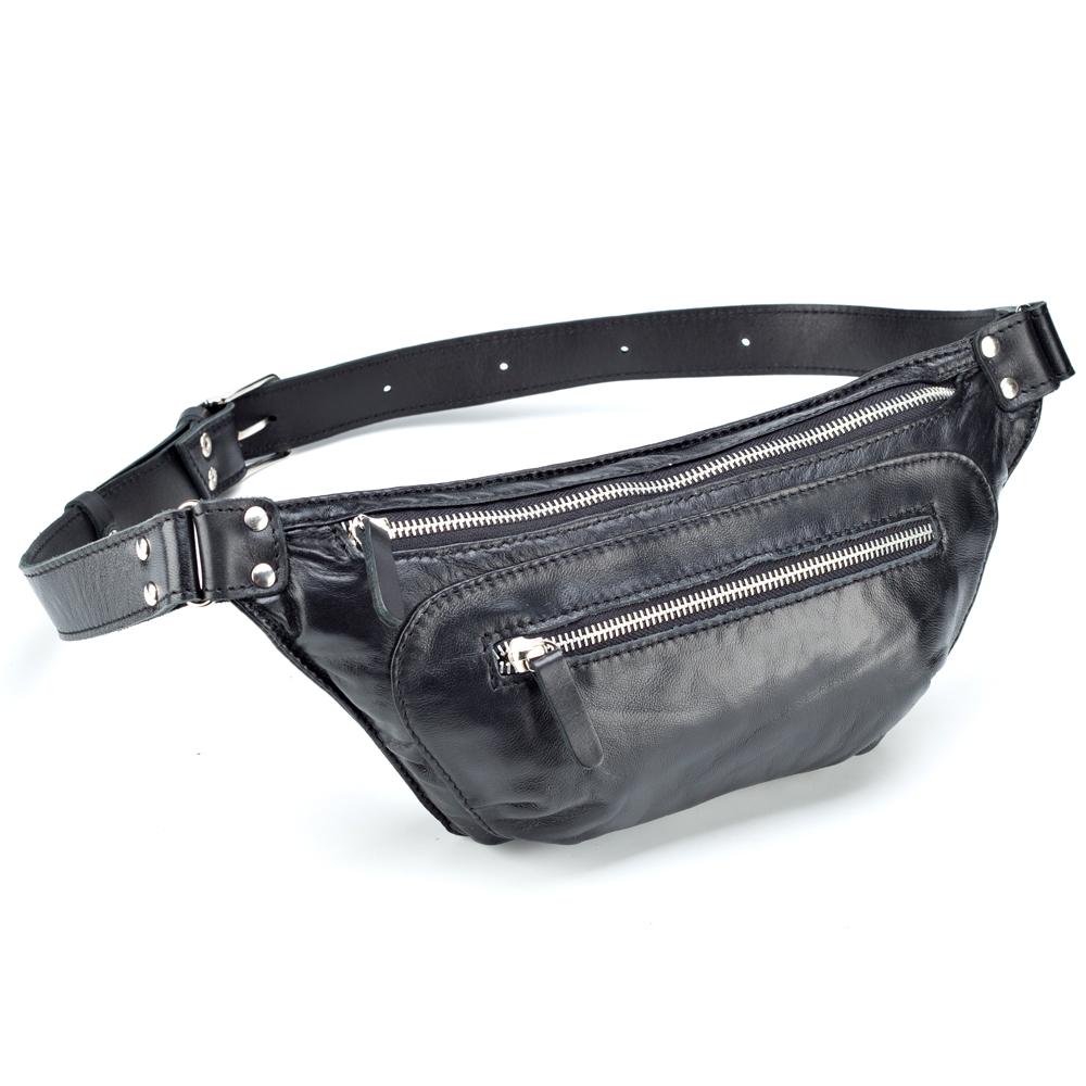 """Купить со скидкой Кожаная сумка на пояс """"Рики"""" (чёрный)"""