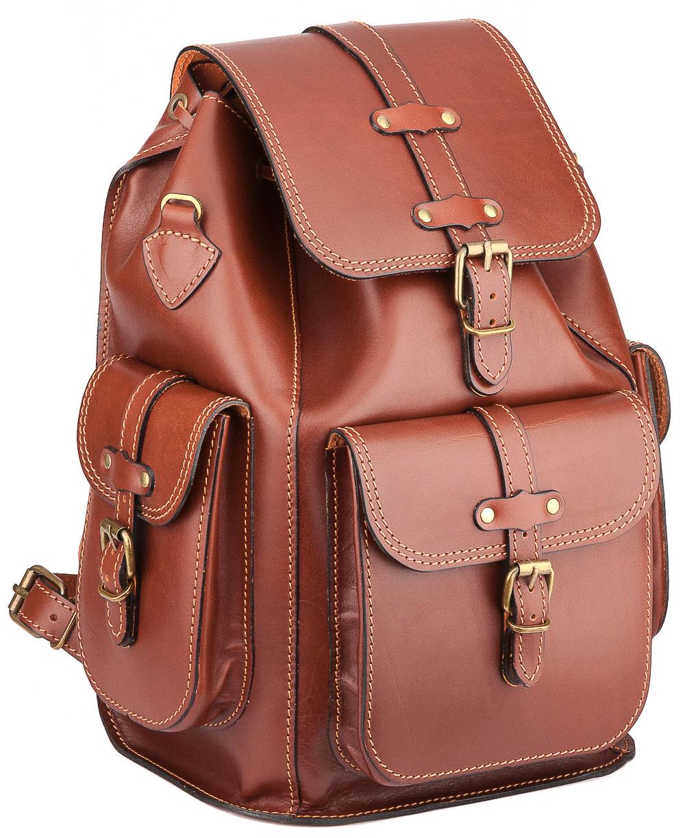 """Фото #1: Кожаный рюкзак """"Патриот"""" (рыжий)"""