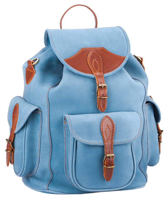 """Кожаный рюкзак """"Мидл"""" (голубой), Голубой разноцветный коричневый светлый, Кожаный рюкзак """"Мидл"""" (голубой)"""