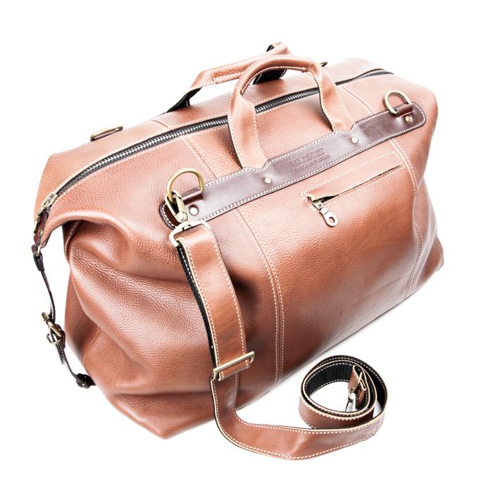 Купить со скидкой Кожаная дорожная сумка (коричневая)